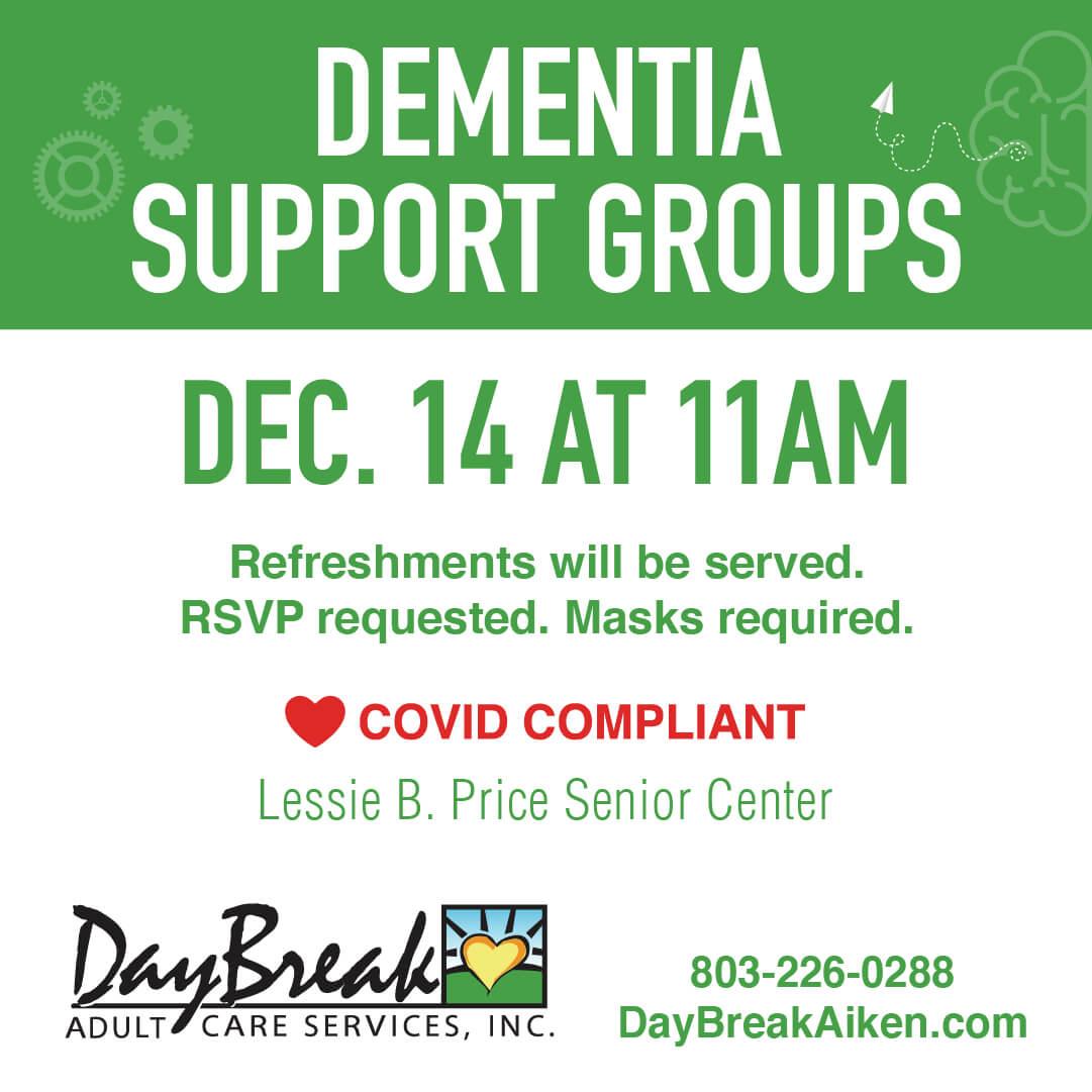 Daybreak Aiken -Dementia Support Groups - December